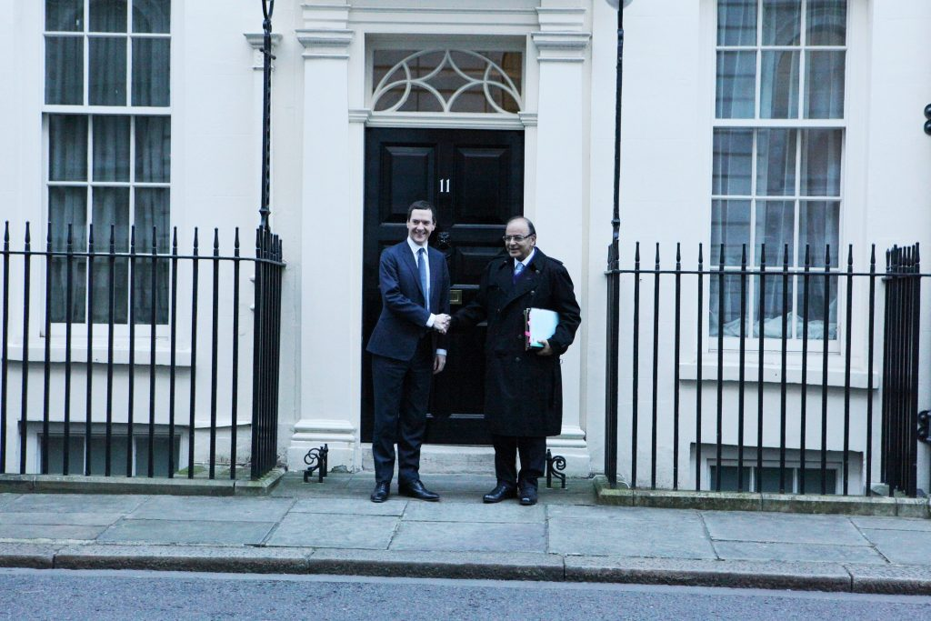 Indian Finance Minister Arun Jaitley and Chancellor George Osborne during the 8th India-UK Economic and Financial Dialogue in London