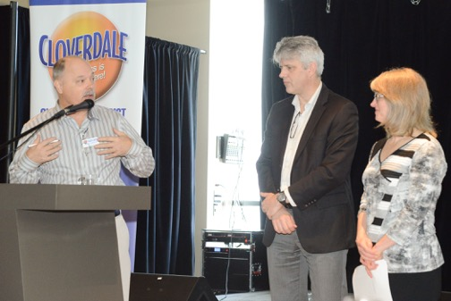 Cloverdale Chamber President, John Gibeau, thanks Don Luymes and Laurie Cavan following their presentation.  Photo: Ray Hudson