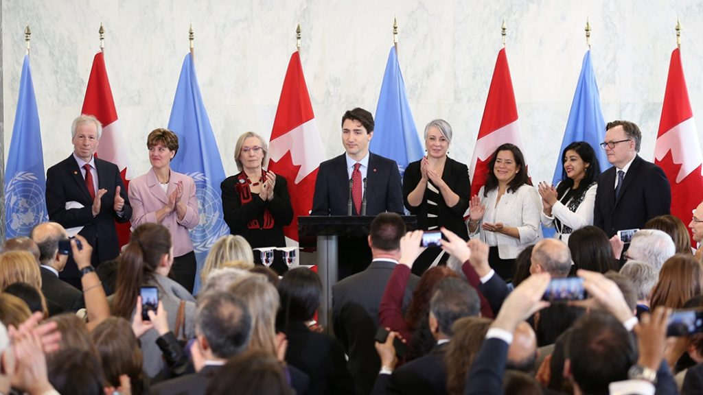 Prime Minister Justin Trudeau announces Canada's candidacy for election to the UN Security Council as a non-permanent member for a two-year term. PMO Canada
