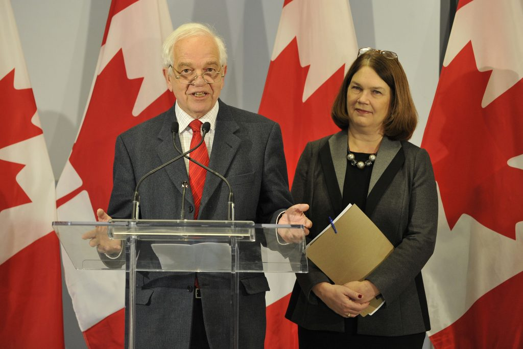 Immigration Minister John McCallum and  Public Health Minister Jane Philpott update the media on the status of Syrian refugees resettlement during a press conference at Toronto Pearson International Airport on December 31, 2015. Dominic Chan/QMI Agency for IRCC