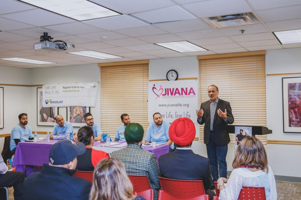 Harry Bains addresses the Jivana meeting. Photo: Submitted