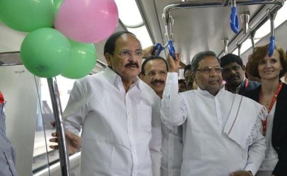 Venkaiah Naidu, Siddaramaiah flag off south India's first underground Metro