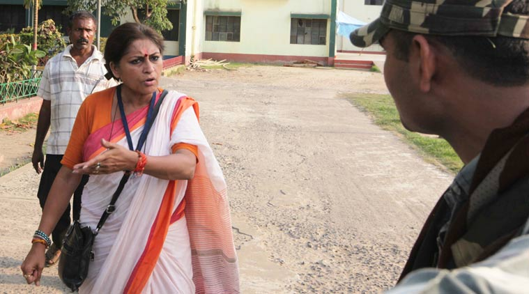 BJP candidate from Howrah Uttar Assembly constituency Roopa Ganguly at the polling booth on Monday where she allegedly assaulted a TMC worker.