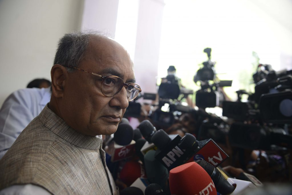 New Delhi: Congress general secretary Digvijaya Singh addresses after the Congress Working Committee meeting in New Delhi, on April 17, 2015. (Photo: IANS)
