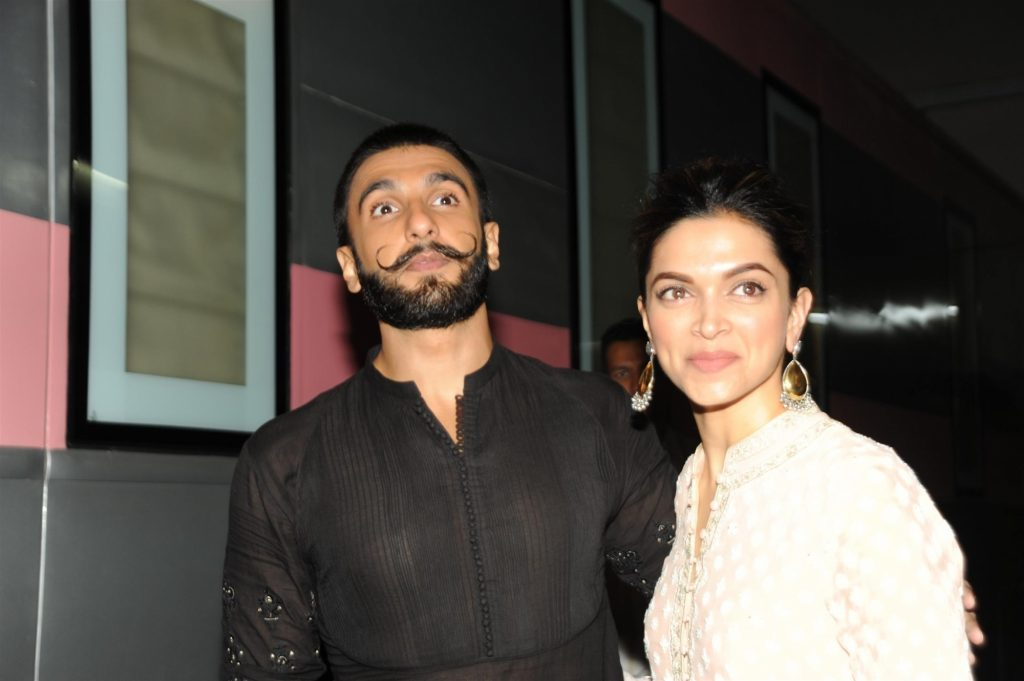 Mumbai: Actors Ranveer Singh and Deepika Padukone during the promotion of their film Bajirao Mastani in Mumbai on Dec 17, 2015. (Photo: IANS)