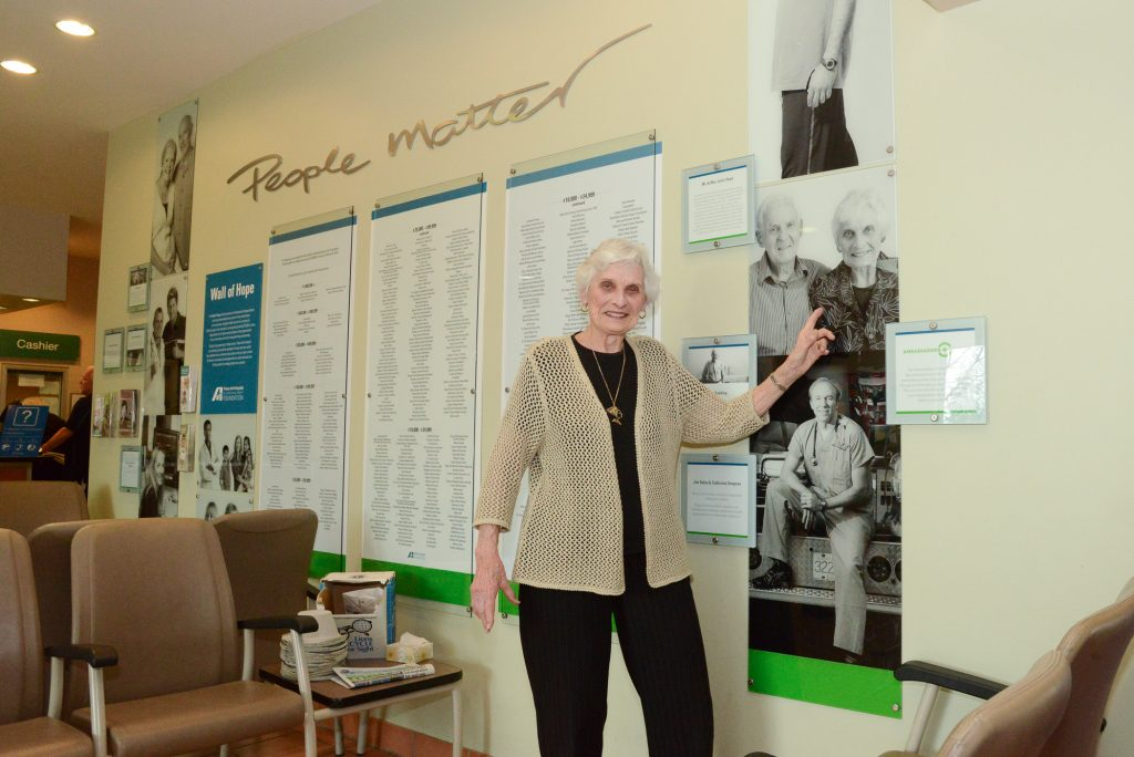 Ellen Kennett, Founding member of the Hospital Auxiliary in the lobby of the current Peace Arch Hospital.