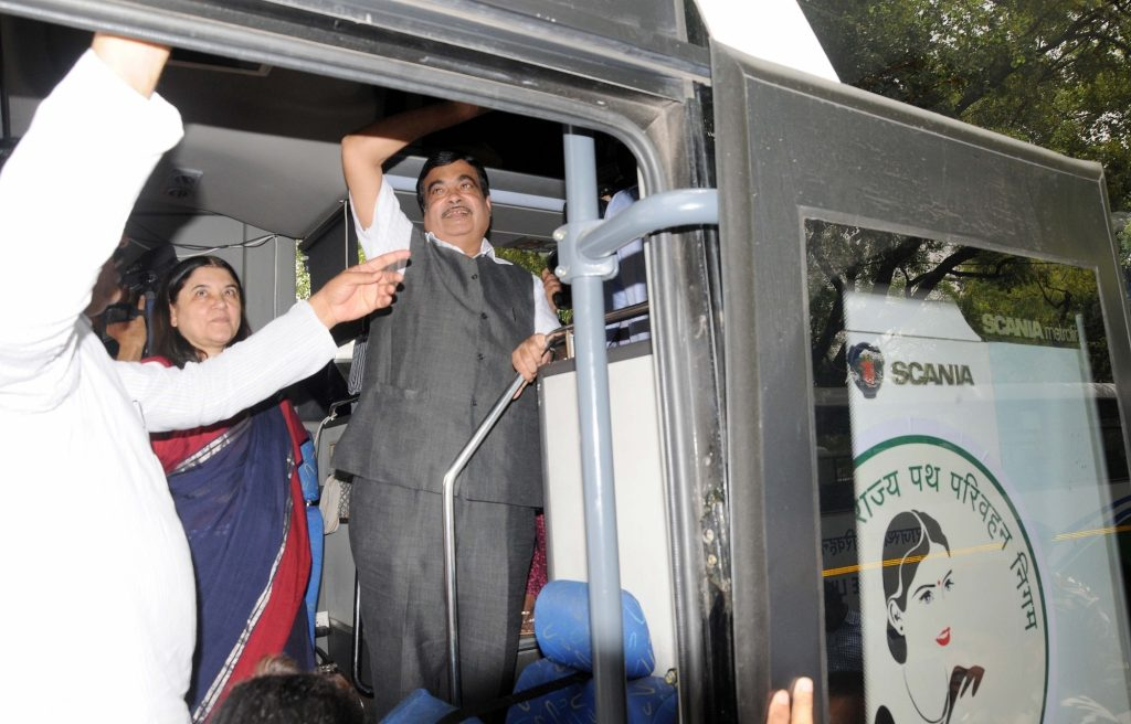 New Delhi: Union Minister for Road Transport & Highways and Shipping Nitin Gadkari during launch of buses under Nirbhaya Scheme, in New Delhi on May 25, 2016. Also seen Union Minister for Women and Child Development Maneka Gandhi. (Photo: IANS)