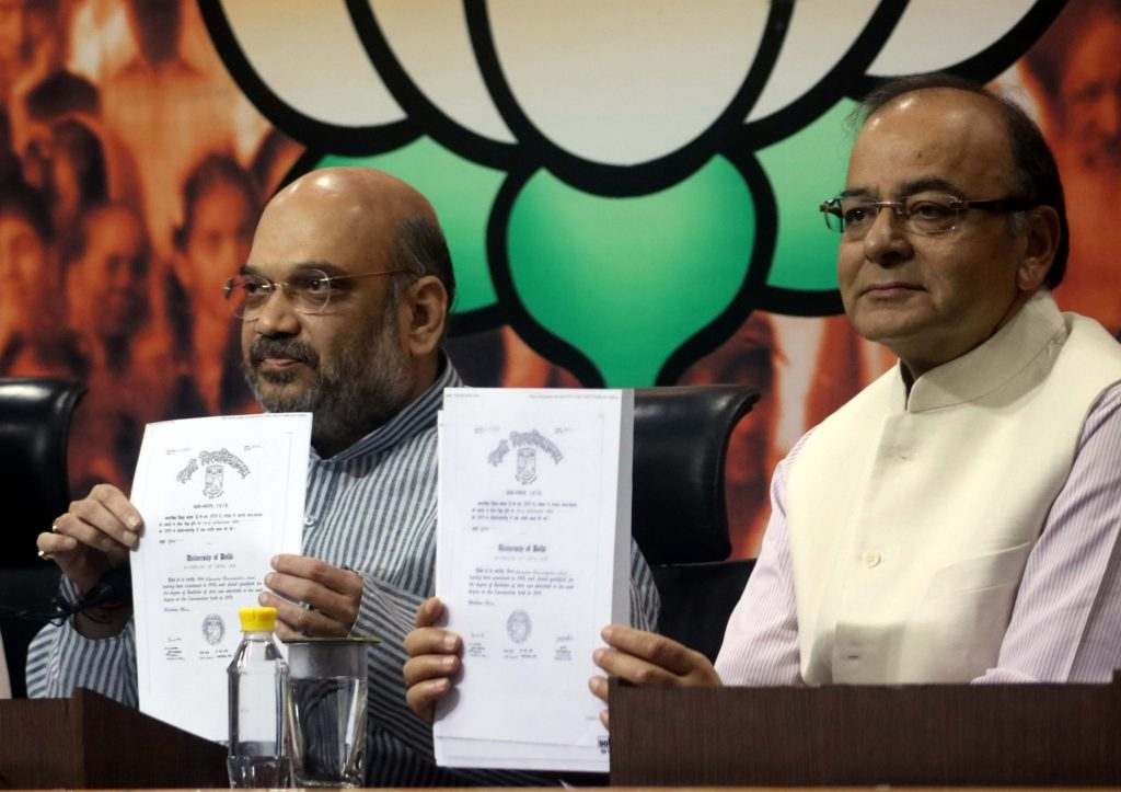 New Delhi: Union Minister for Finance, Corporate Affairs, and Information and Broadcasting Arun Jaitley and BJP chief Amit Shah during a press conference regarding Prime Minister Narendra Modi`s education qualification in New Delhi, on May 9, 2016. (Photo: IANS)