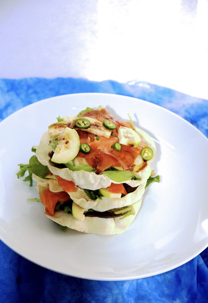 Salmon and Guava Stacked Salad with Horseradish Raita and Tamarind Dressing