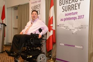 Kent Hehr, Veterans Affairs Minister and Associate Minister of National Defense announces opening of Surrey Service Centre for May 2017.