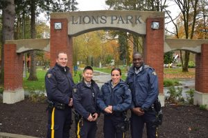 (From left to right) : Cst. Blakeman, Cst. Wong, Cpl. Luca and Cst. Kagimu-Lule