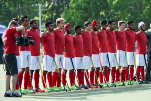 Canada's Under-21 team during the National anthem at the 2016 Junior Men's Pan American Championship in Toronto in May 2016 (By Yan Huckendubler)