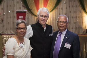 From left to right: Madhu Varshney, SFU president Andrew Petter, Hari Varshney. Photo: SFU.ca