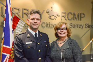 Chief Superintendent Dwayne McDonald is introduced by Mayor Linda Hepner at Surrey's main detachment.  Photo: Ray Hudson