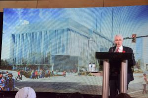 SFU President Andrew Petter electronically unveils the new building designed by the late Bing Thom, the architect whose designs dominate the Surrey City downtown core.