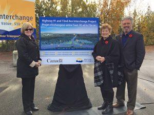 Delta MP Carla Qualtrough, Delta Mayor Lois Jackson and Scott Hamilton, MLA North Delta present the approved Highway 91/72nd Avenue Interchange design.