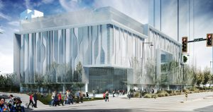 New home for SFU Surrey Mechatronics Engineering Program, designed by the late Bing Thom, the architect whose designs dominate the Surrey City downtown core.