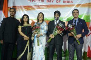 Rajiv K. Chander (Consul General of India – Vancouver), Dr. Shalini C. Chander, Jatinder Virk,                Hon. Harjit Sajjan (Defence Minister) and Amrik Virk (MLA of Surrey – Tynehead).