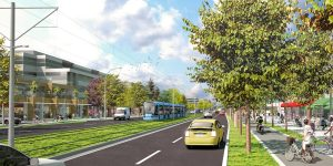 """Artist's rendition of the LRT in the Central City area, from Surrey.ca """"The Vision."""""""