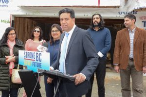 Liberal Candidates, Puneet Sandhar for Surrey Panorama and Jas Johal for Richmond-Queensborough, announce tax credit will encourage building secondary suites.  Photo: Ray Hudson