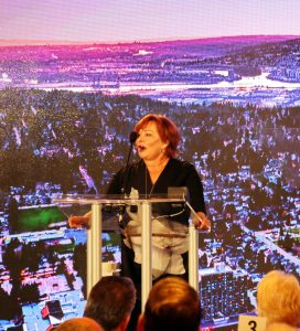 Mayor Linda Hepner shares the city's success stories and trends with a room packed with Surrey's business community.