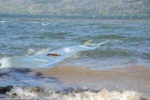 Normally docile Trepanier Creek at Peachland rages into Okanagan Lake which is now above 1948 levels. Photos: Ray Hudson