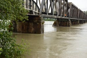With the Fraser River running high everyone relies on the water level against the Mission Railway bridge and the river gauge (at right) at Mission BC to determine the urgency of the precautions necessary as the freshet gets underway.