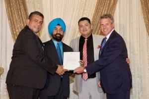 MP Surrey Newton, Sukh Dhaliwal, PICS CEO Satbir Cheema, PICS President Bobby Pawar, MP Cloverdale Langley John Aldag.