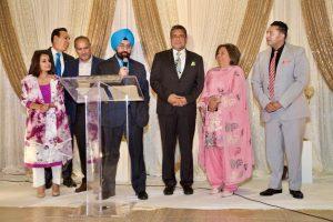 MLA Rachna Singh, MLA Jagrup Brar, Minister of Labour Harry Bains, PICS CEO Satbir Cheema, MP Sukh Dhaliwal, Minister of Citizen Services Jinny Sims, PICS President Bobby Pawar.