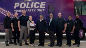 Alexa's Team Officers with Supt. Harj Sidhu in the middle (from left to right) – Cst. Grayson Smith, Cst. Josh Lehbauer, Cst. Jim Ingram, Cst. Emily Wawruck, Supt. Harj Sidhu, Cst. Harprit Hair, Cst. Jeremy Pearce, Cst. Gordy Gill, Cst. Sarb Singh. (Not Pictured – Cst. Taylor Armstrong and Cst. Mathew Taylor).