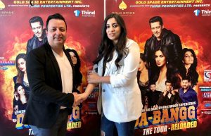 Insha Pathan, winner of the Meet Salman Khan Contest with show promoter of Gold Spade Entertainment Inc.