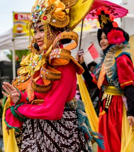 Members of the Indonesia pavilion participating in the Parade of Cultures at the 2016 Surrey Fusion Festival.