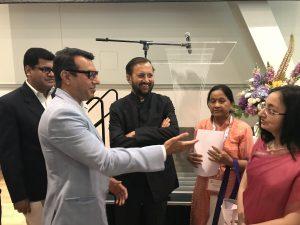 Consulate General of India, Mrs. Abhilasha Joshi (right), Indian Human Resource Development Minister Mr. Prakash Javadekar (middle) and Aditya Tawatia (left).