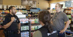 Cst. John Jasmins visits a North Delta business.